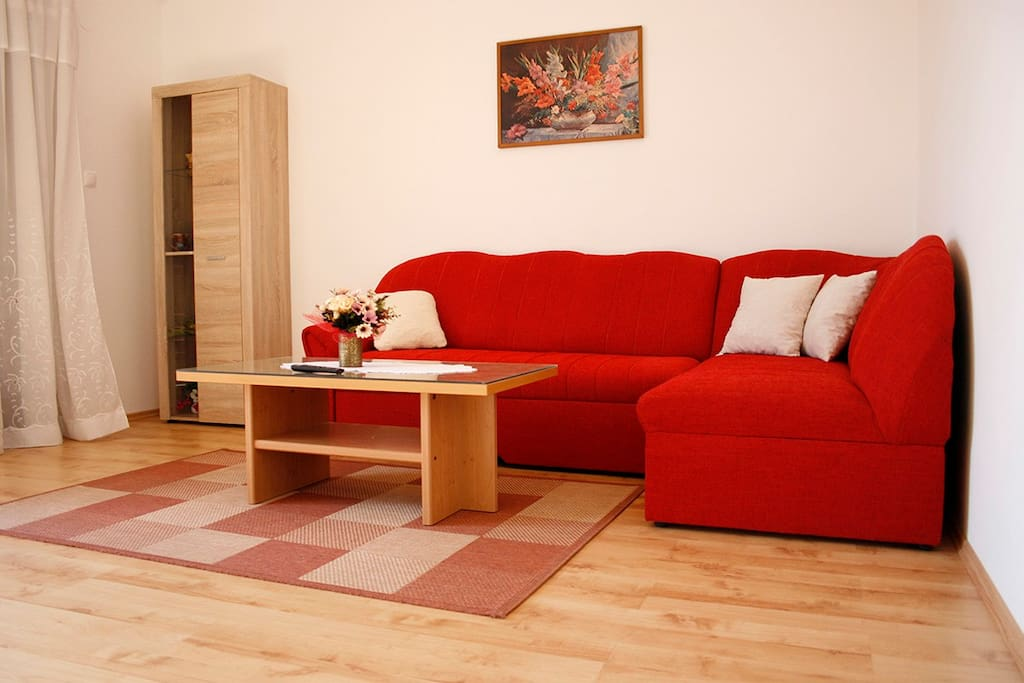 The furniture in the living room can be extended, and used as an additional bed.