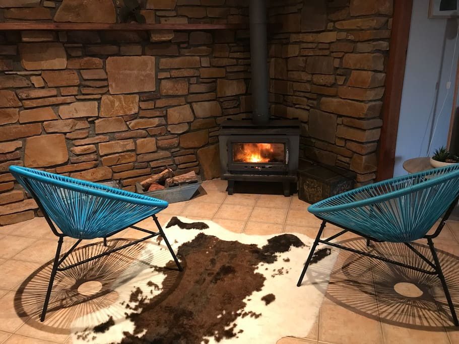 Real wood fire for winter