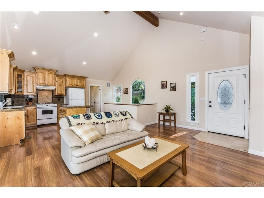Open floorplan with High-vaulted ceilings.