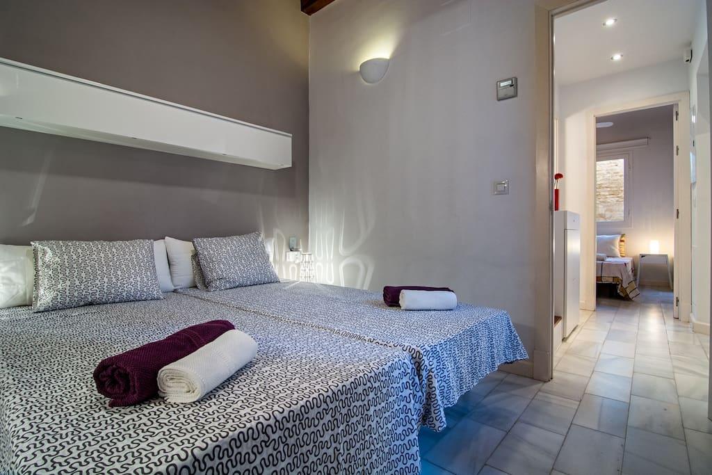 Dormitorio con baño y dos camas individuales/Twin Room with bathroom