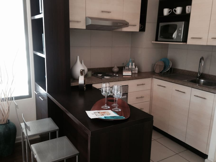 Very comfortable kitchen, with oven, microwave, fridge, and fully equipped for 4 people.