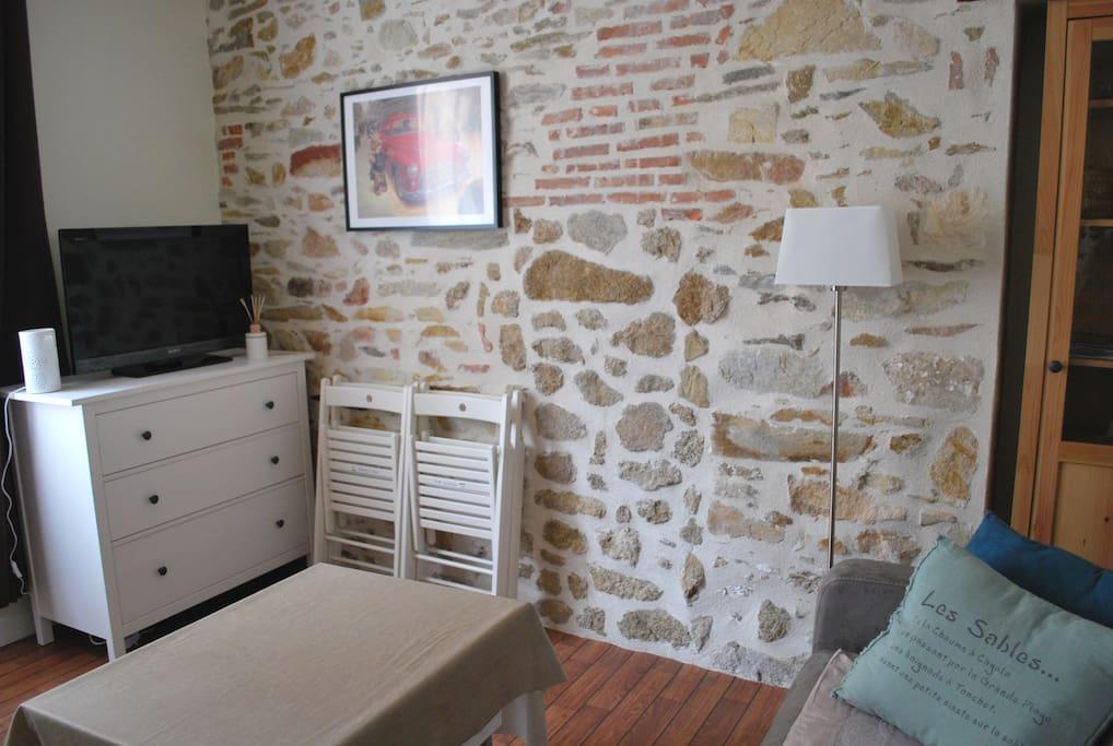 Coin salon avec mur en pierres apparentes