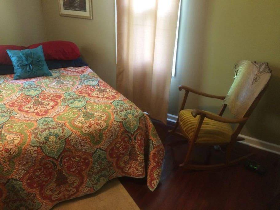 Antique rocker & full size comfy bed