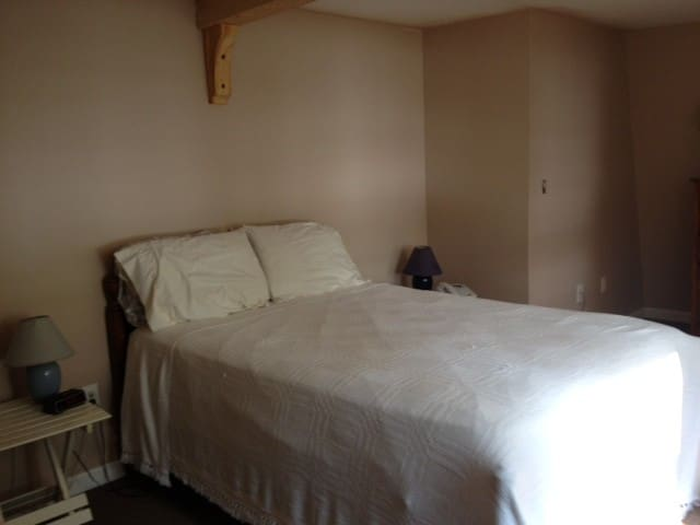 Master BR with double bed positioned to wake up and look at lake view