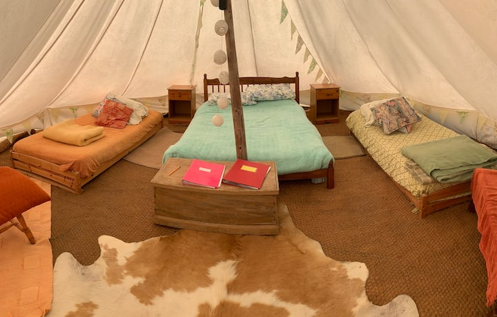 Bell tent in peaceful surroundings