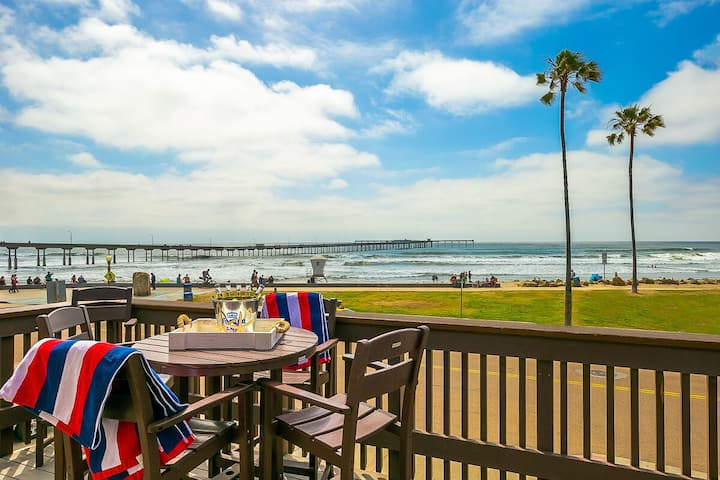 OB Pier 2, across from the beach, pier and next to bars and restaurants!