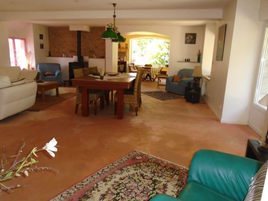 Grande salle de séjour avec table de billard
