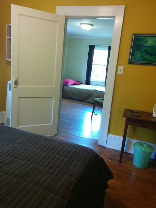 The suite is roomy and private, with doors separating both rooms from each other and the rest of the house.