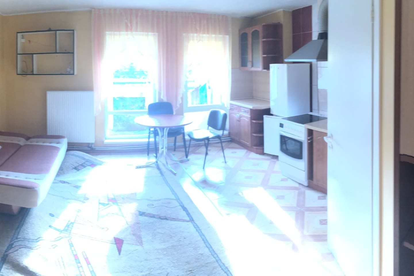 Sunny big room with kitchen and good furnitures