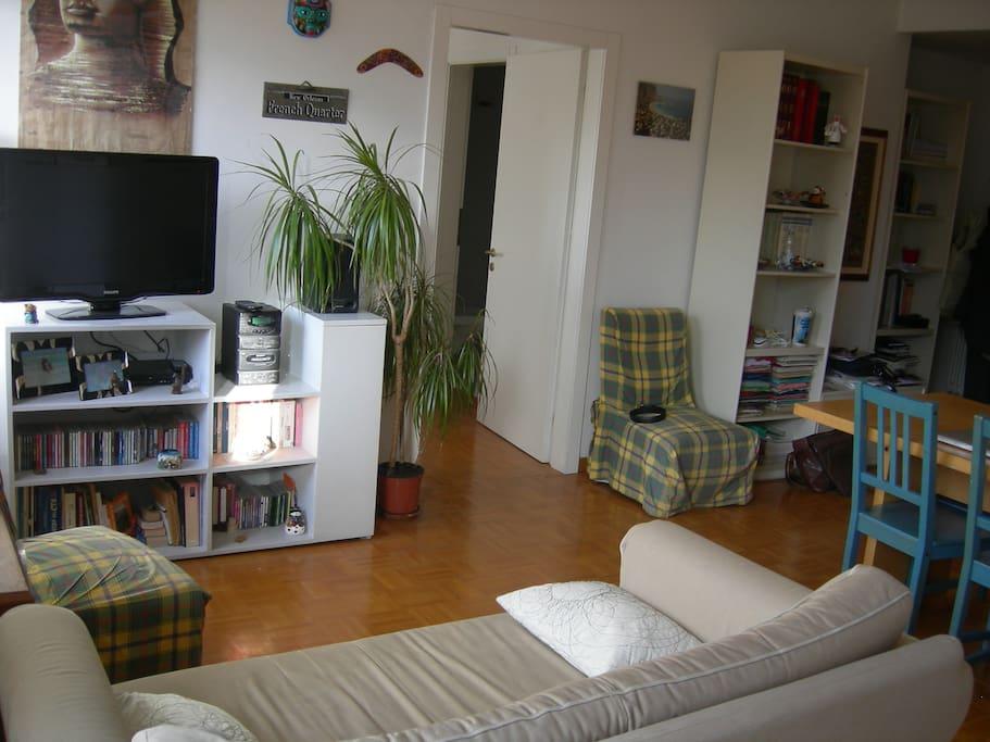 Luminosità del soggiorno con divano letto, tavolo, sedie, librerie