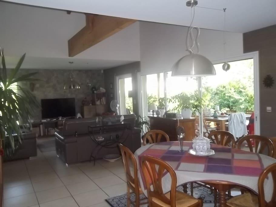 salon, salle à manger donnant sur la terrasse en bois