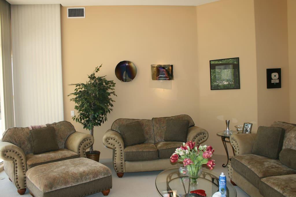 Formal living room, original art