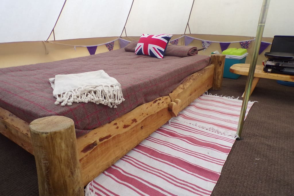 Double bed in the Goshawk Bell Tent