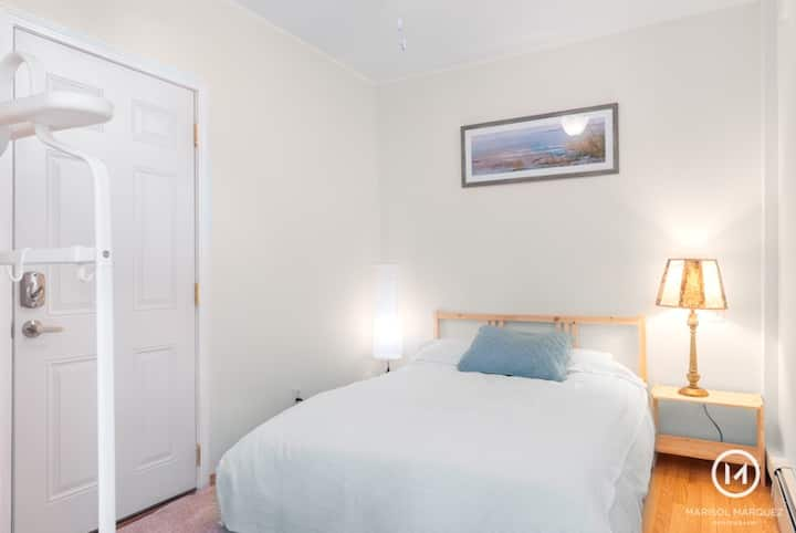 Room in garden apartment next to T stop / bus hub