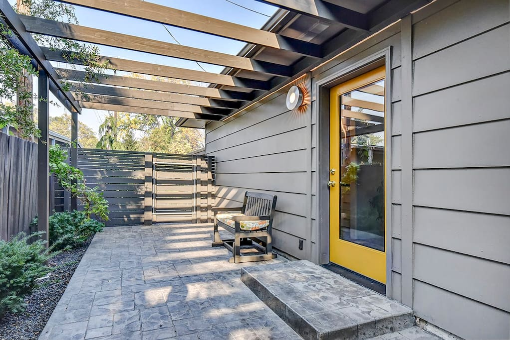 Private courtyard for outdoor seating.