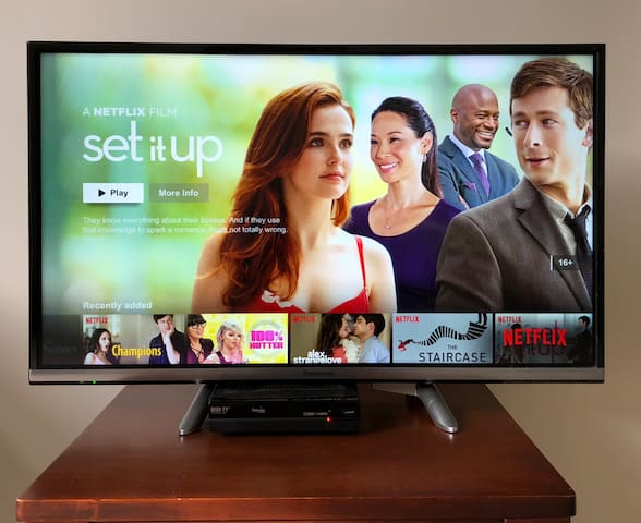 "A 32"", smart TV with Netflix, HDMI cable and limitless Fiber Wi-Fi"