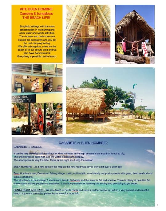Private bungalow in rustic Buen Hombre Kite Camp with kitesurfing lessons for beginners