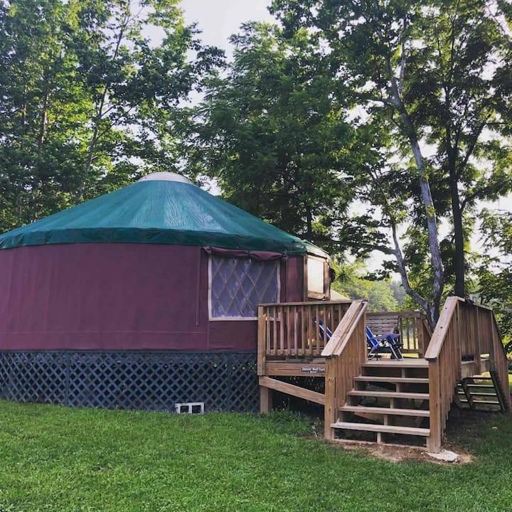 Dancin' Wolf Yurt @ #1 Rock Tavern River Kamp