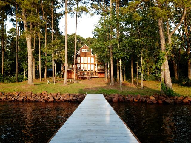 Walking up to the house from the dock after a long day of resting and playing in the lake!