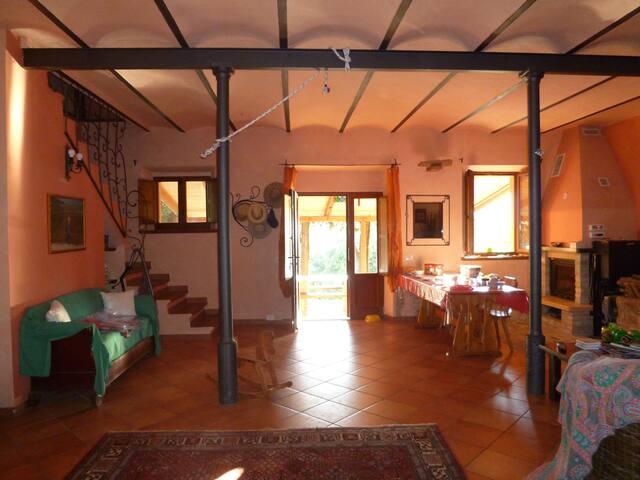 Il salone da cui si accede al pergolato ,illuminato dalla calda luce estiva