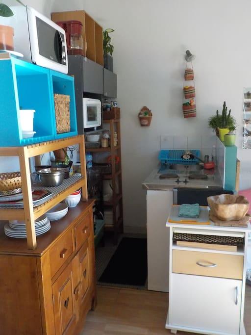Le coin cuisine avec four à micro ondes, frigo, petit four, 2 plaques chauffantes et bouilloire