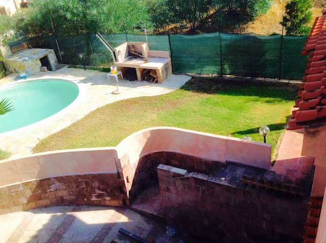 Swimming pool with barbecue