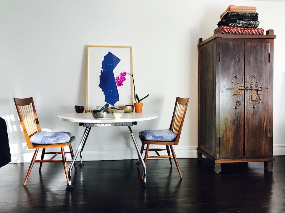 Mid-century dining table and chairs.