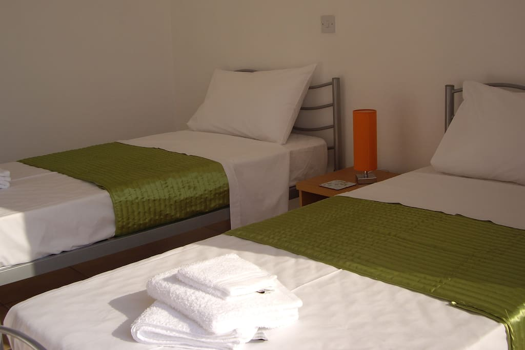 Two single bed on the first floor.