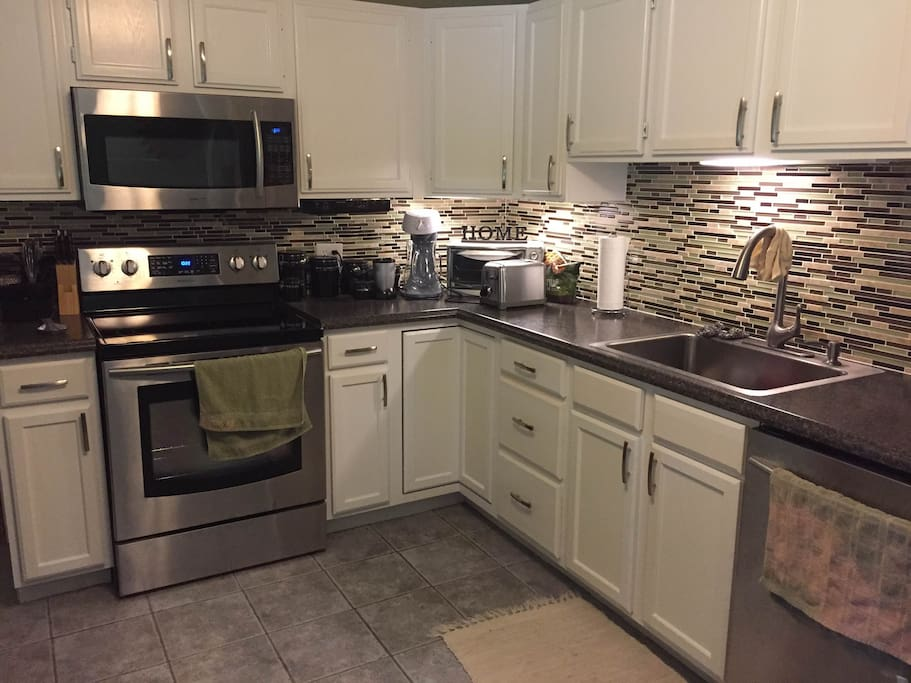 Newly renovated modern kitchen with all the conveniences of home.