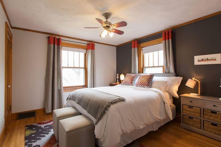 Guest bedroom; queen sized bed.