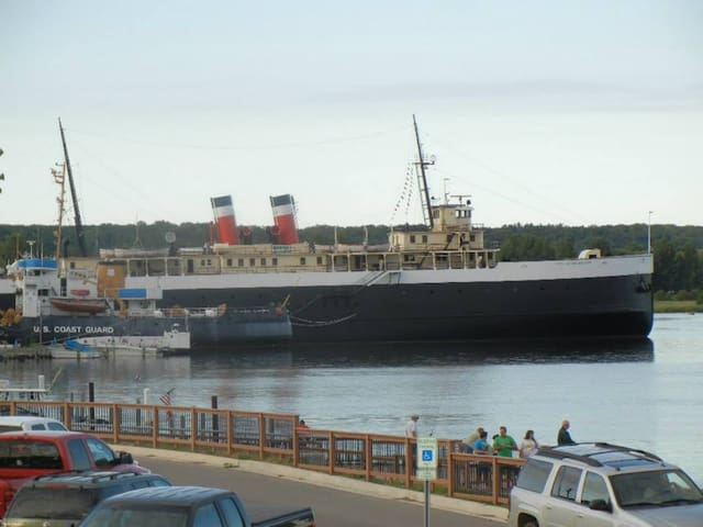The ship as seen from the public boat launch.