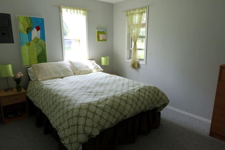 Second bedroom--queen sized bed, dresser, closet