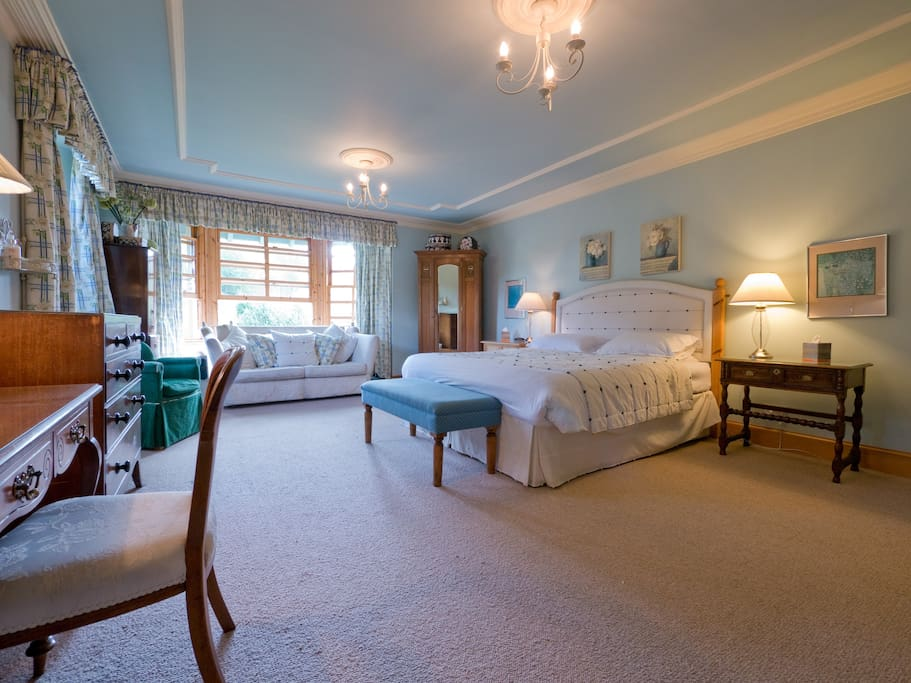 The Blue Room - a huge and beautiful bedroom with en suite shower