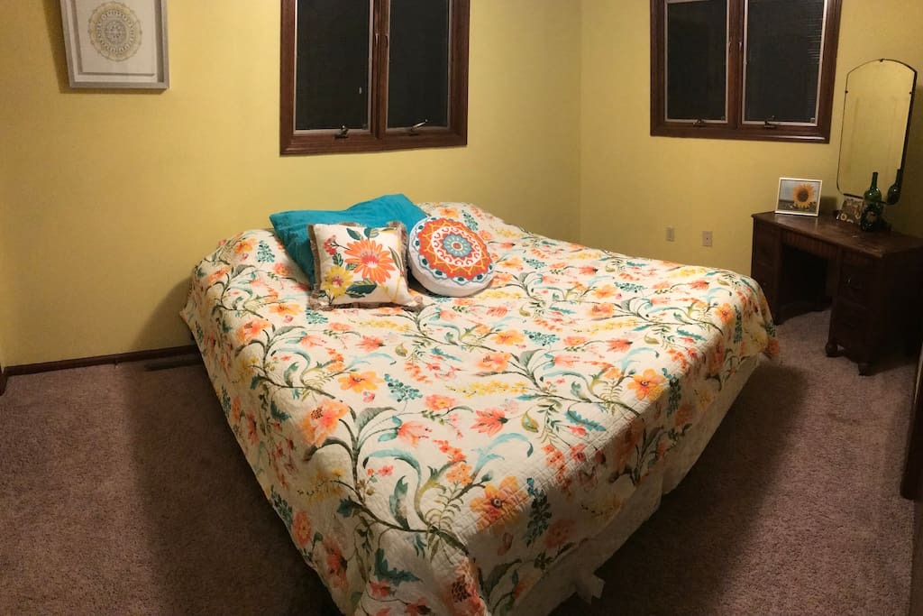 Upstairs bedroom number two with new color scheme, king-size