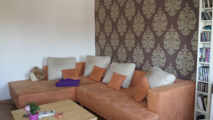 Ein sehr großes und gemütliches Sofa, welches auch noch ausgezogen werden kann. Und man damit eine ca. 2,50 x 2m Liegefläche hat. :)