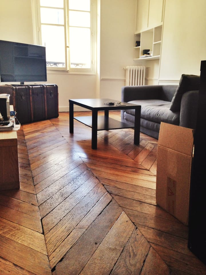 Salon avec grande TV et canapé-lit dépliable