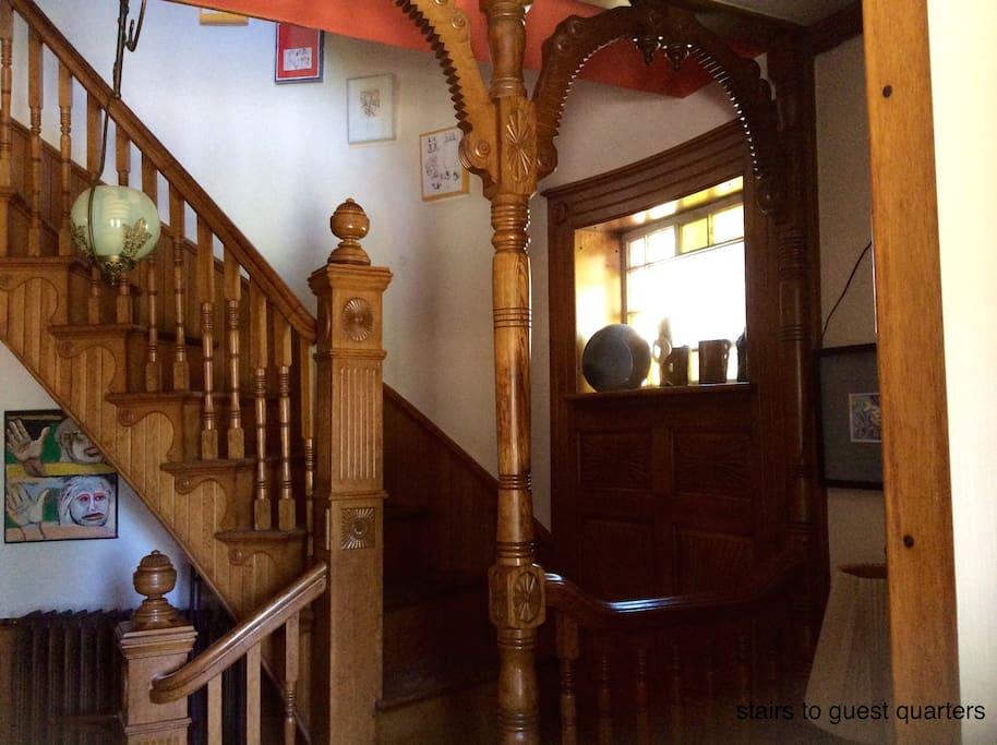 Follow the white oak staircase.....