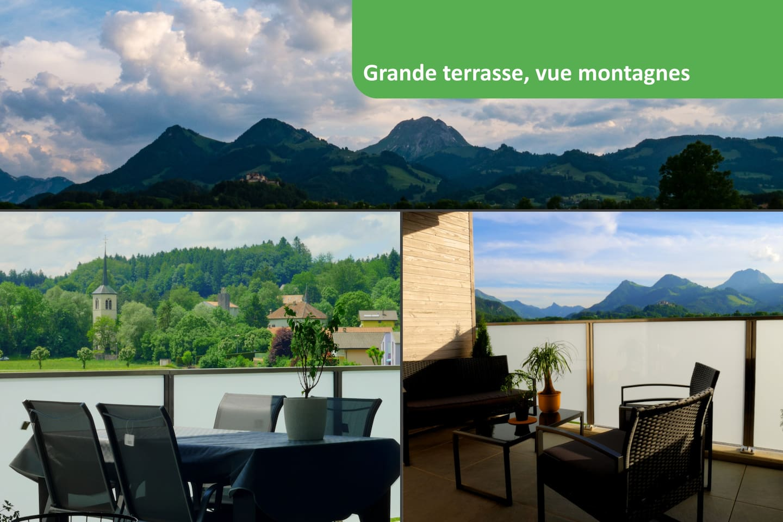 Profitez de notre grande terrasse équipée avec vue sur les montages et sur le château de Gruyères.  Idéale pour le petit-déjeuner ou pour prendre un verre le soir. Nous aimons partager avec vous, et vous conseiller pour passer de bonnes journées.