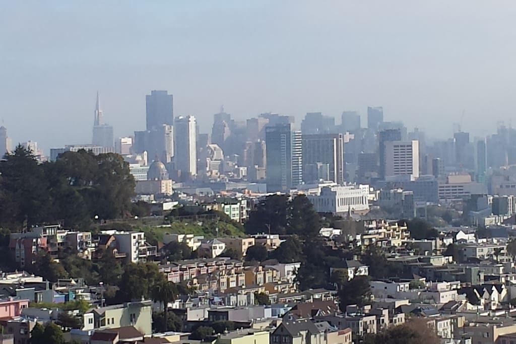 View of the SF city skyline from our front deck.