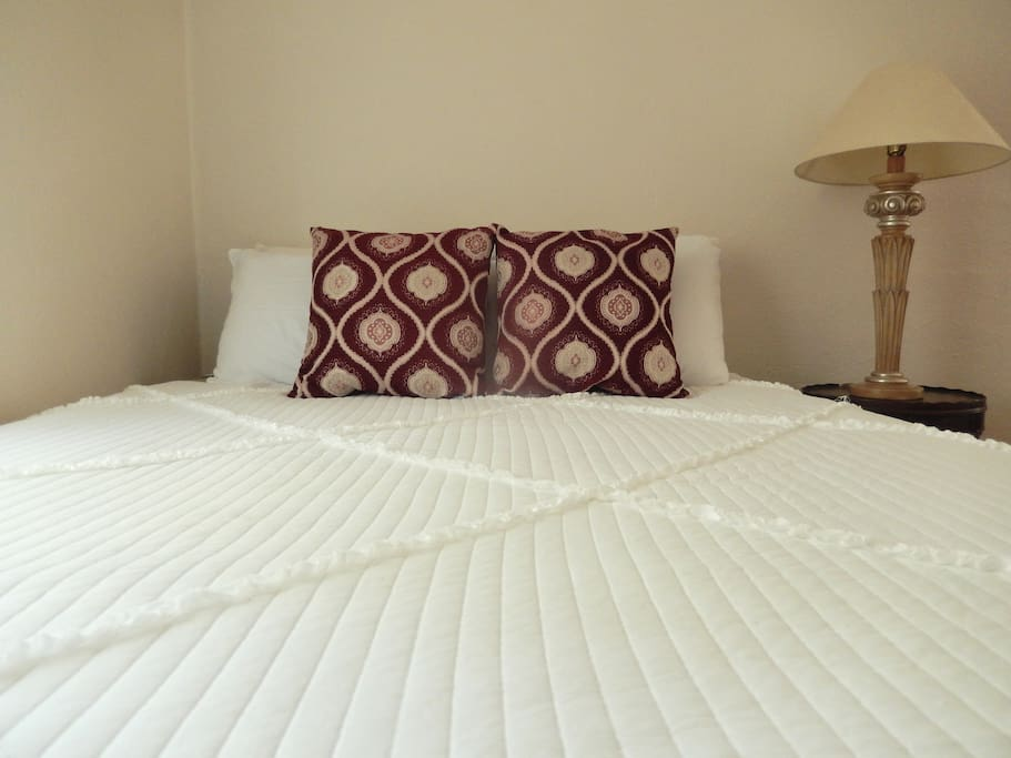 New, comfortable queen size bed.