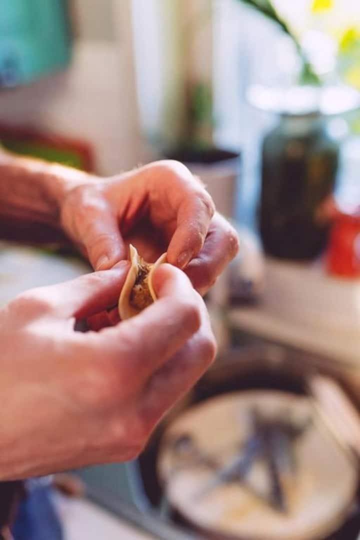 filling pierogi with sourkraut/mushroom