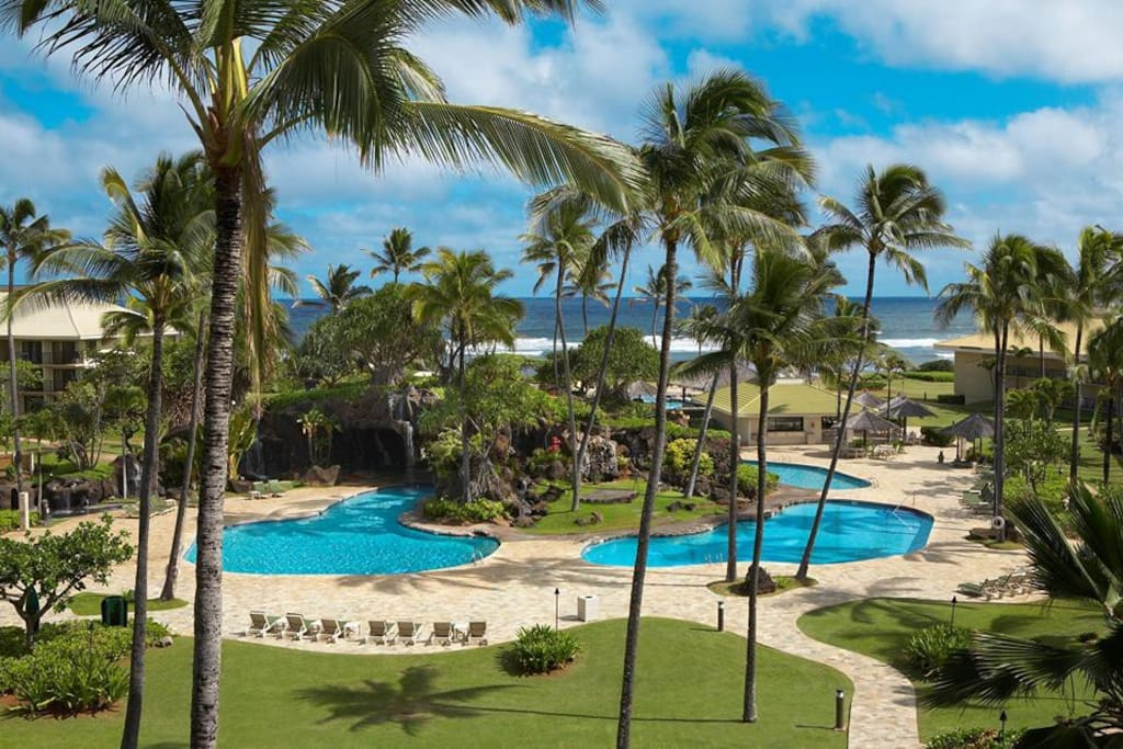 Resort grounds and view of the many salt water swimming pools