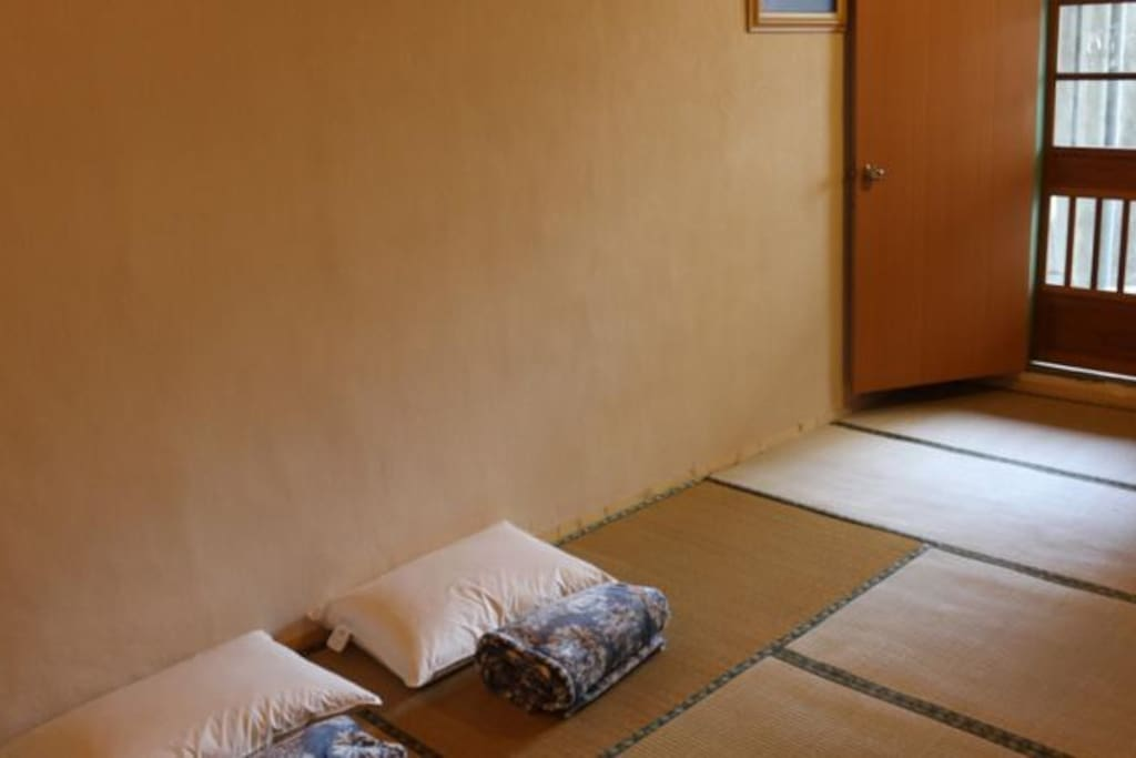 Japanese style bedroom with tatami floor