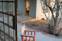 Connecting terrace to studio