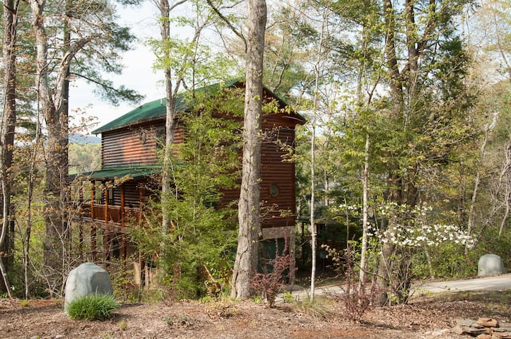 Log home on the river with mountain views - Lake Lure - Rumah