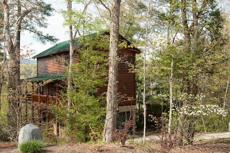 Log home on the river with mountain views - Lake Lure - Ev