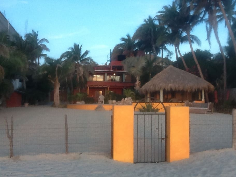 Entering from white sand beach