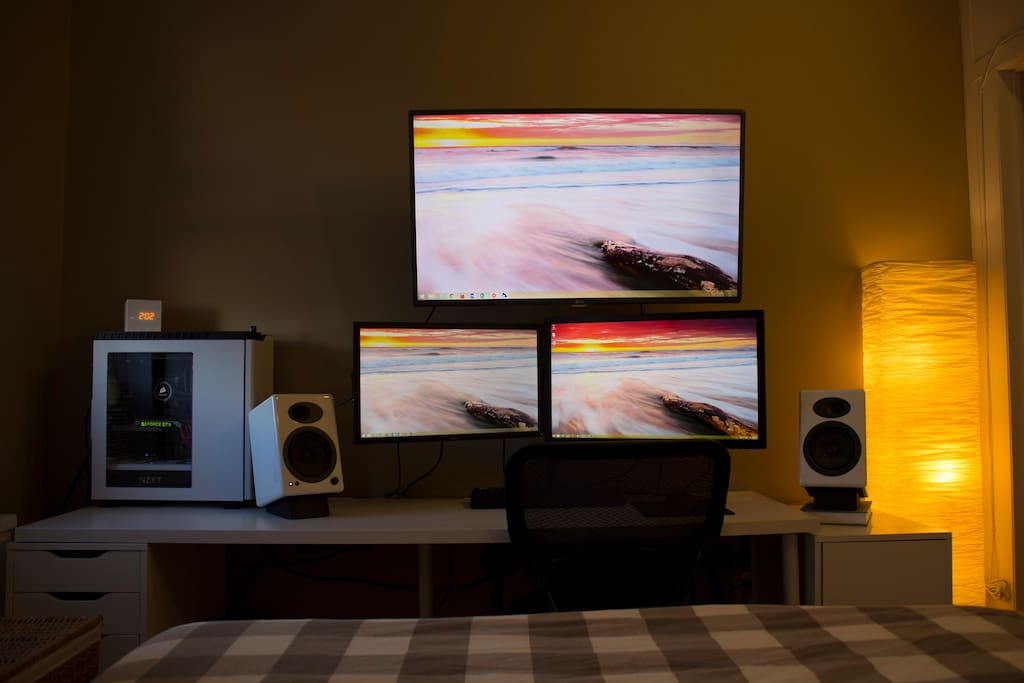 Enjoy high end speakers and large HD TV from the comfort of the bed