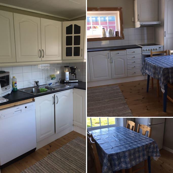 Kjøkken med oppvaskmaskin, kaffetrakter, vannkoker, microovn, stekovn og kombiskap.