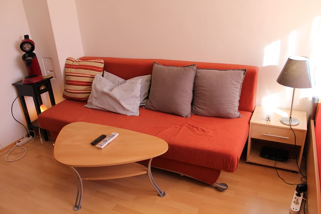 Cozy Couch, can be folded down to a sleeping couch